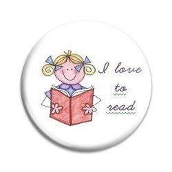Button Pin: I love to read - Girl (GT5037)