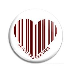 Button Pin: Priceless Teacher - Heart Barcode (GT5047)